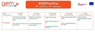 #GEMonline timetable for 11th January