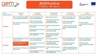 #GEMonline timetable for March