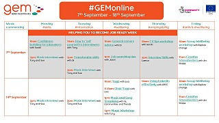 Our #GEMonline timetable for September has now been released!